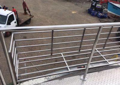 Fishing boat rails and box storage
